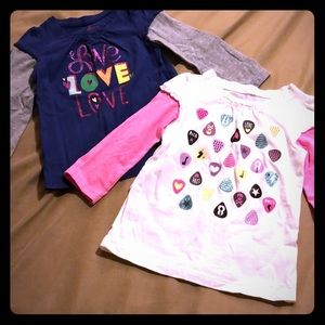 Two Girls Long Sleeve Tees, size 2T